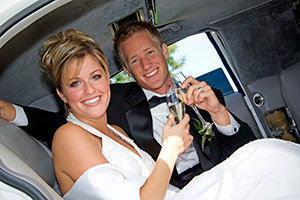 Husband and wife in limo