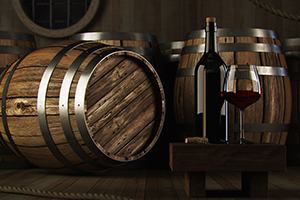 wine barrels, wine bottle and wine glass